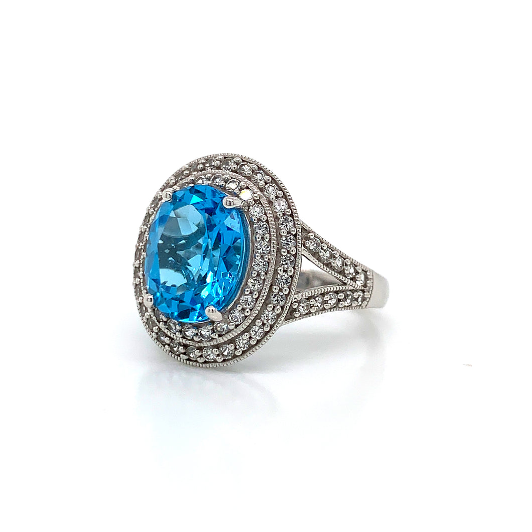 Blue and White Topaz Statement Ring