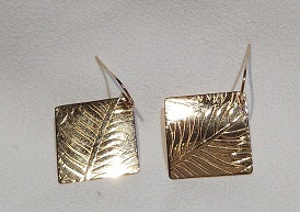 Custom 14k Yellow Gold Med. Rectangle Dangles with Fern Leaf Texture