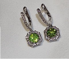 Sterling Silver Peridot and White Topaz Earrings