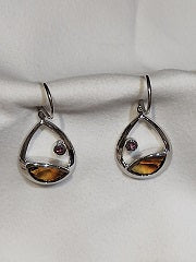 Sterling Silver Marquise Cut Smokey Quartz Dangle Earrings