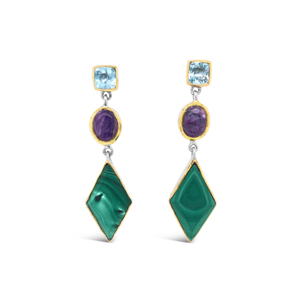 Blue Topaz, Malachite, and Charoite Dangle Earrings