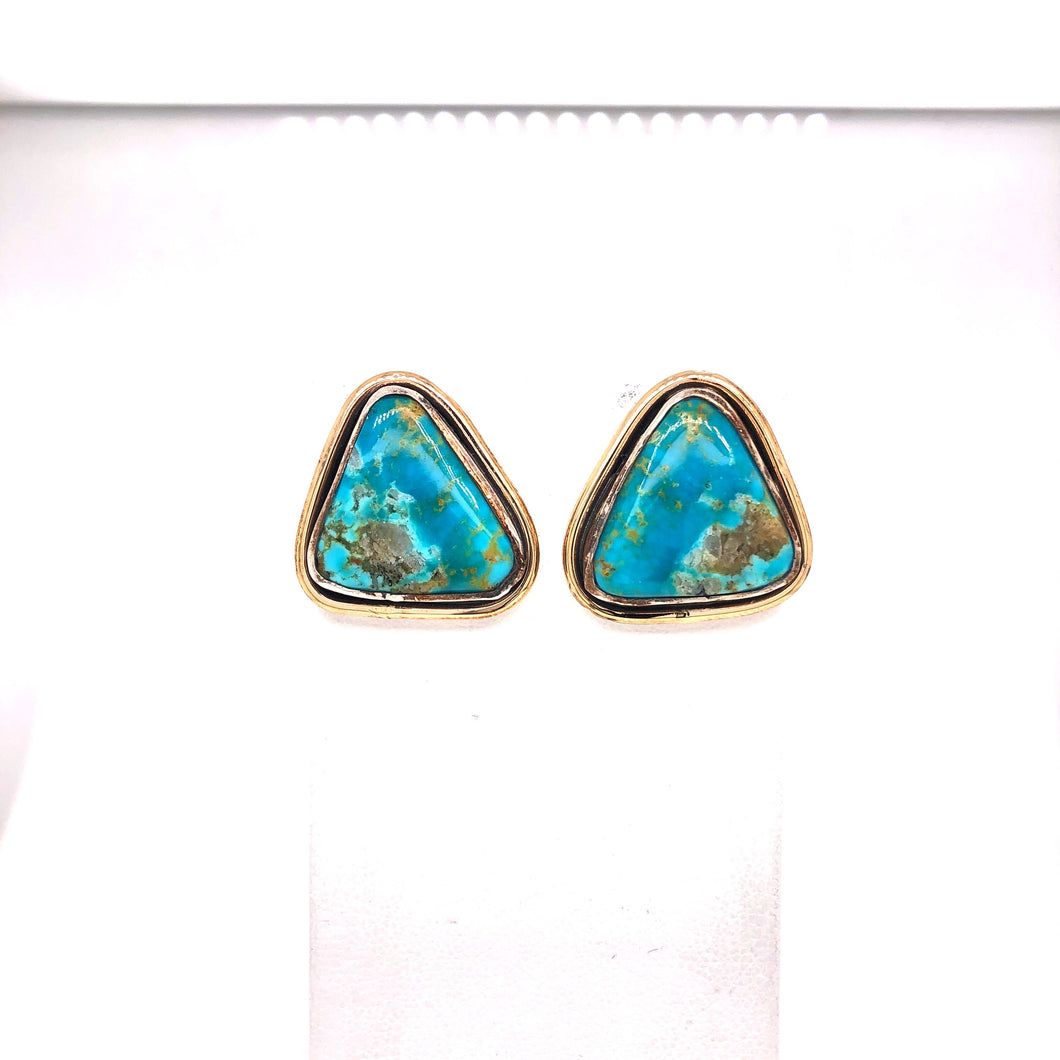 Kingman Turquoise Sterling and Gold Fill Earrings