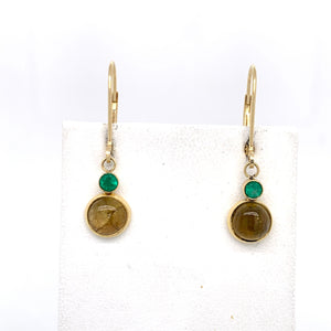 Bezel Set Emerald and Tourmaline Dangle Earrings