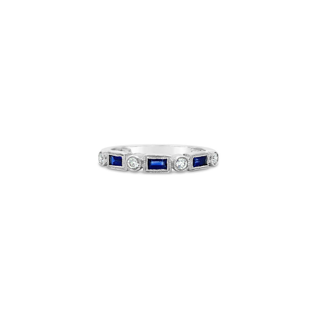 Sapphire and Diamond White Gold Band