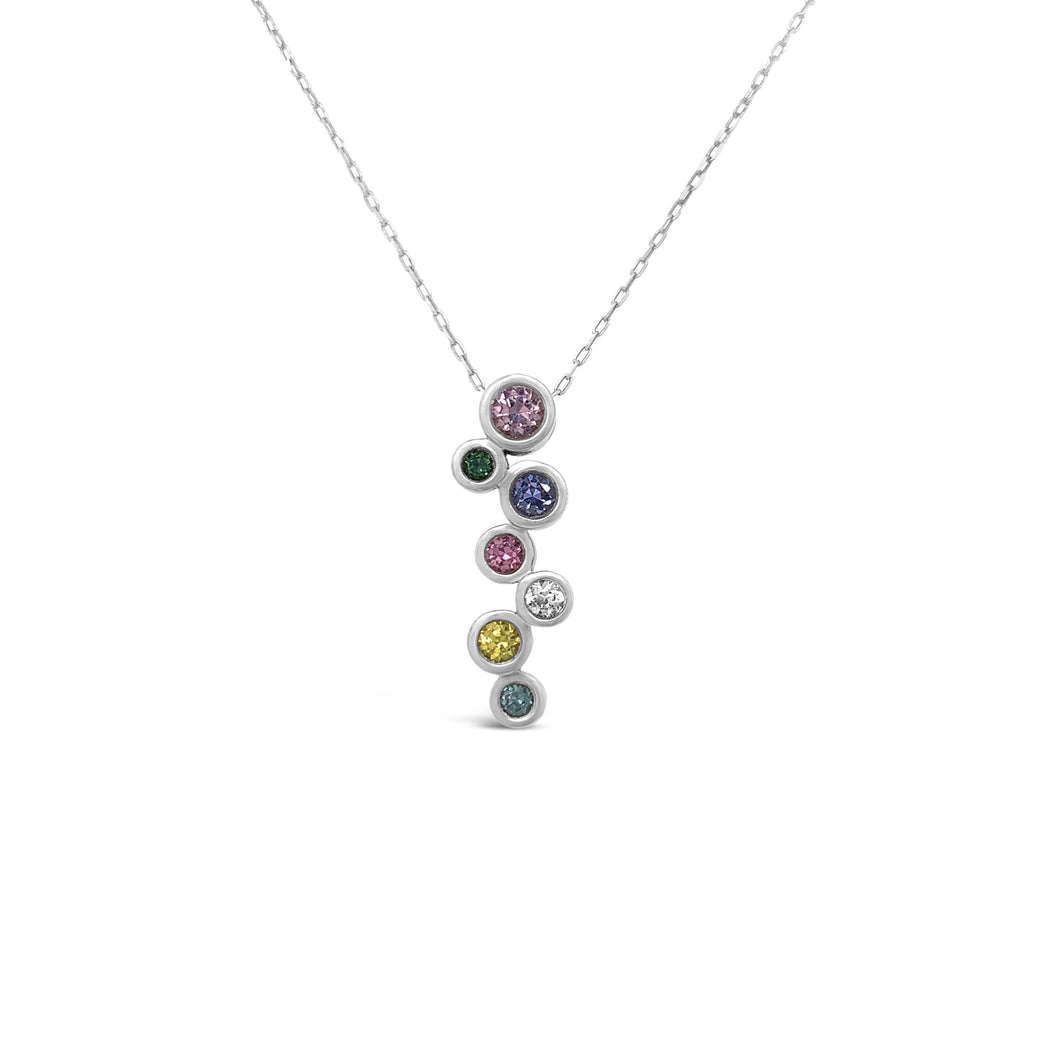 Sterling Bezel Set Multi-Colored Sapphire Pendant