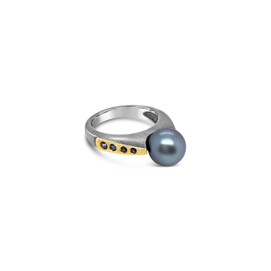 Sterling and 18k Yellow Gold Accent Tahitian Pearl Ring