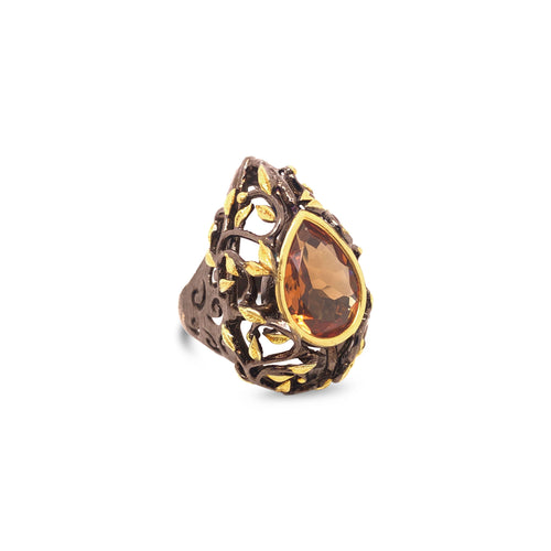 Oxidized Silver Pierced Design Zultanite Ring