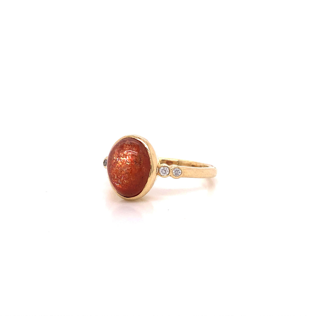 Sunstone and Diamond Accent Yellow Gold Ring