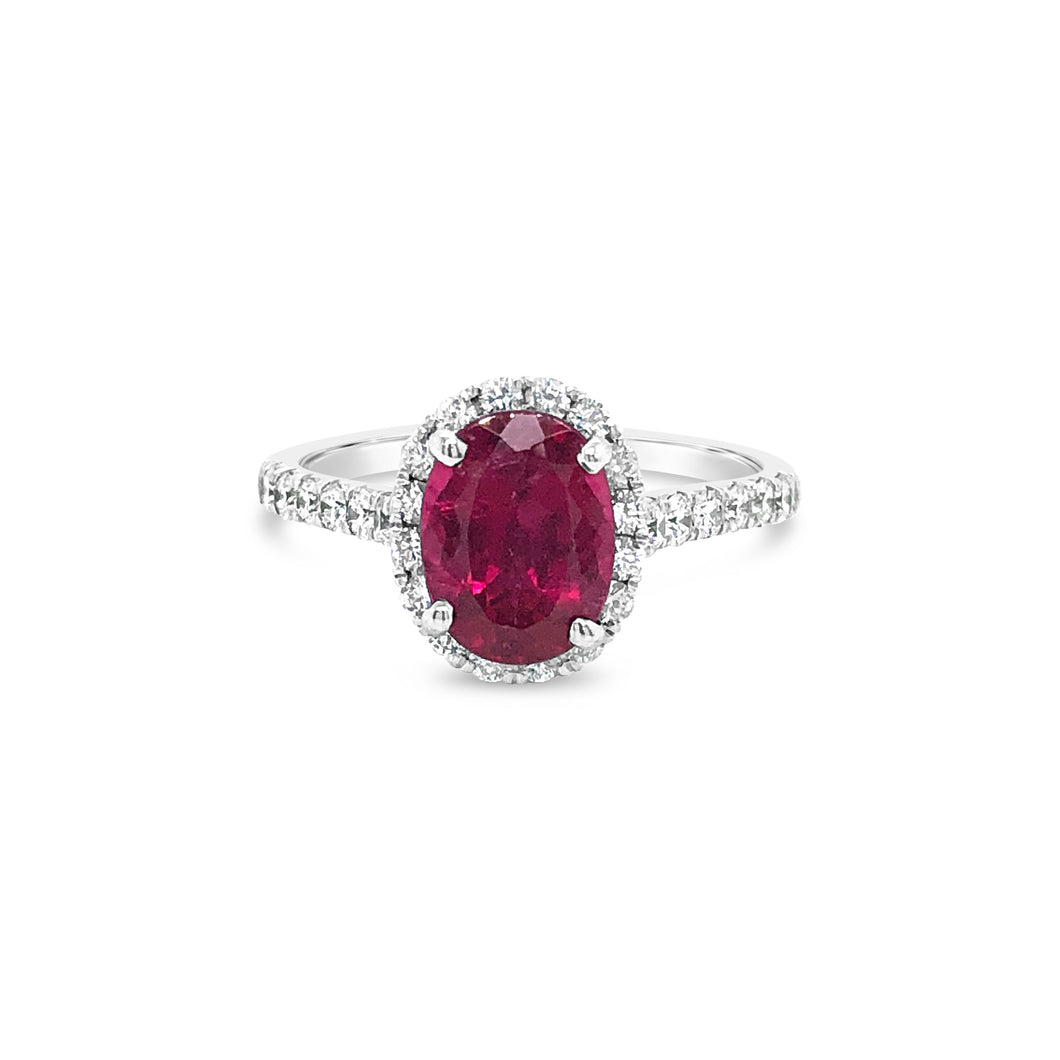 Oval Rubellite White Gold Ring with Diamond Halo