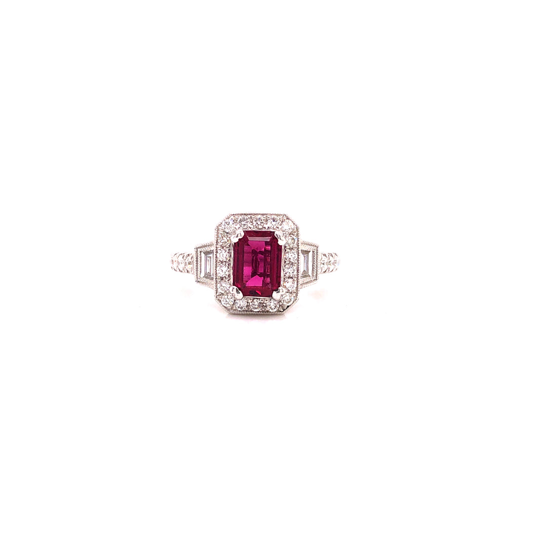 Radient Rubellite and diamond Ring