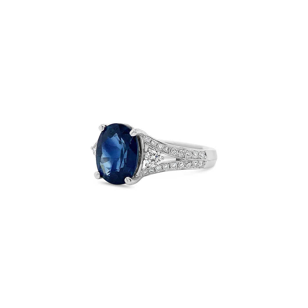 Oval Sapphire and Diamond Split Shank 18k White Gold Ring