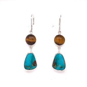 Sterling Bezel Set Kingman Turquoise and Tiger Eye Dangle Earrings