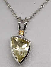 Load image into Gallery viewer, Lemon Quartz and Citrine Accent Scalene Pendant