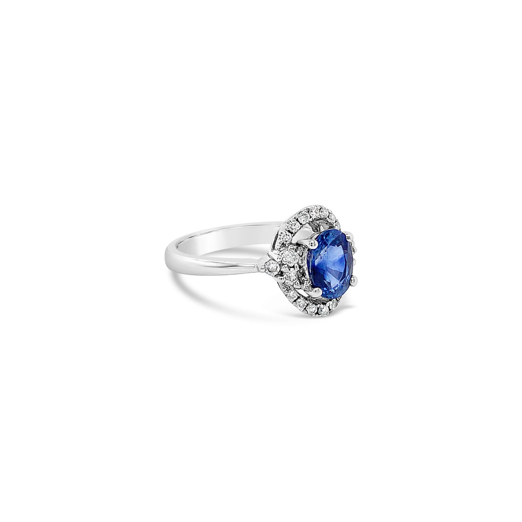 Oval Blue Zircon and Diamond White Gold Ring