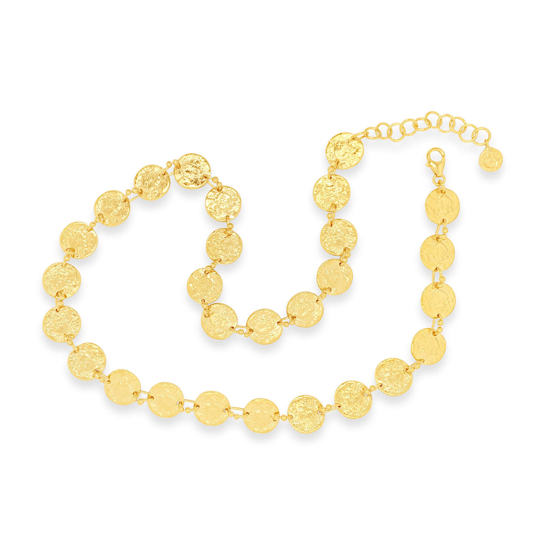 Vermeil Small Textured Disc Link Necklace