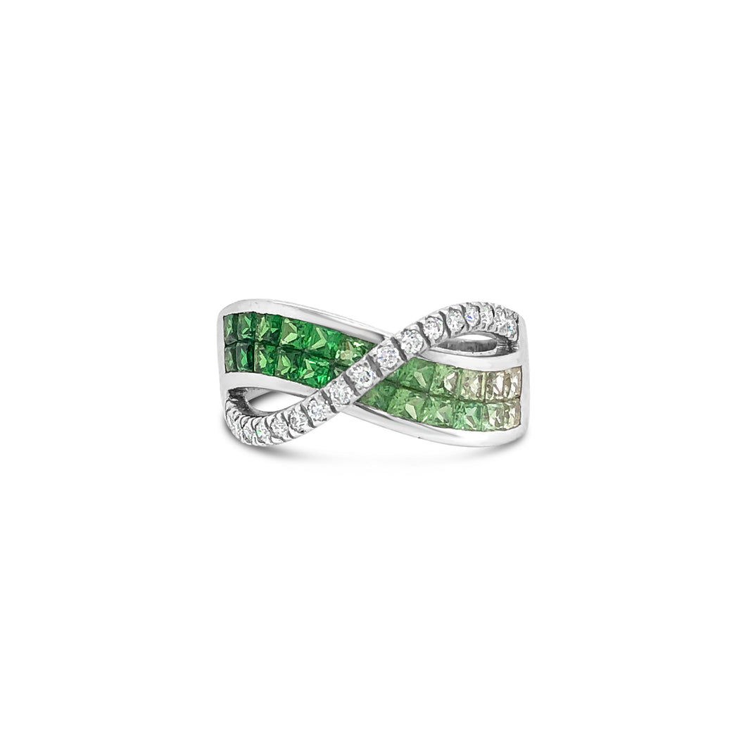 Tsavorite and Diamond Infinity Ring