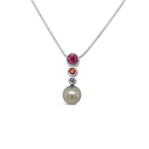 Sterling Bezel Set Multi-Colored Sapphires and Tahitian Pearl Pendant