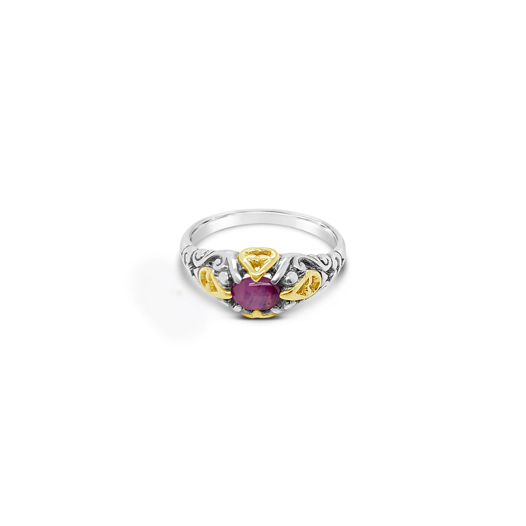 Sterling and 18k Yellow gold Accent Star Ruby Ring