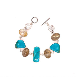 Kingman Turquoise and Rutilated Quartz Bracelet