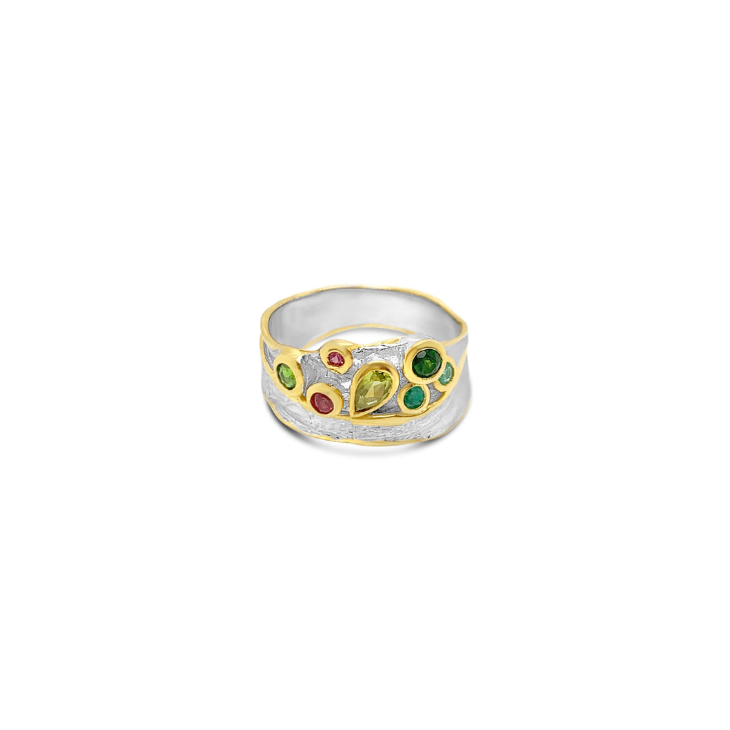 Sterling Peridot and Diopside Band with Vermeil Accents