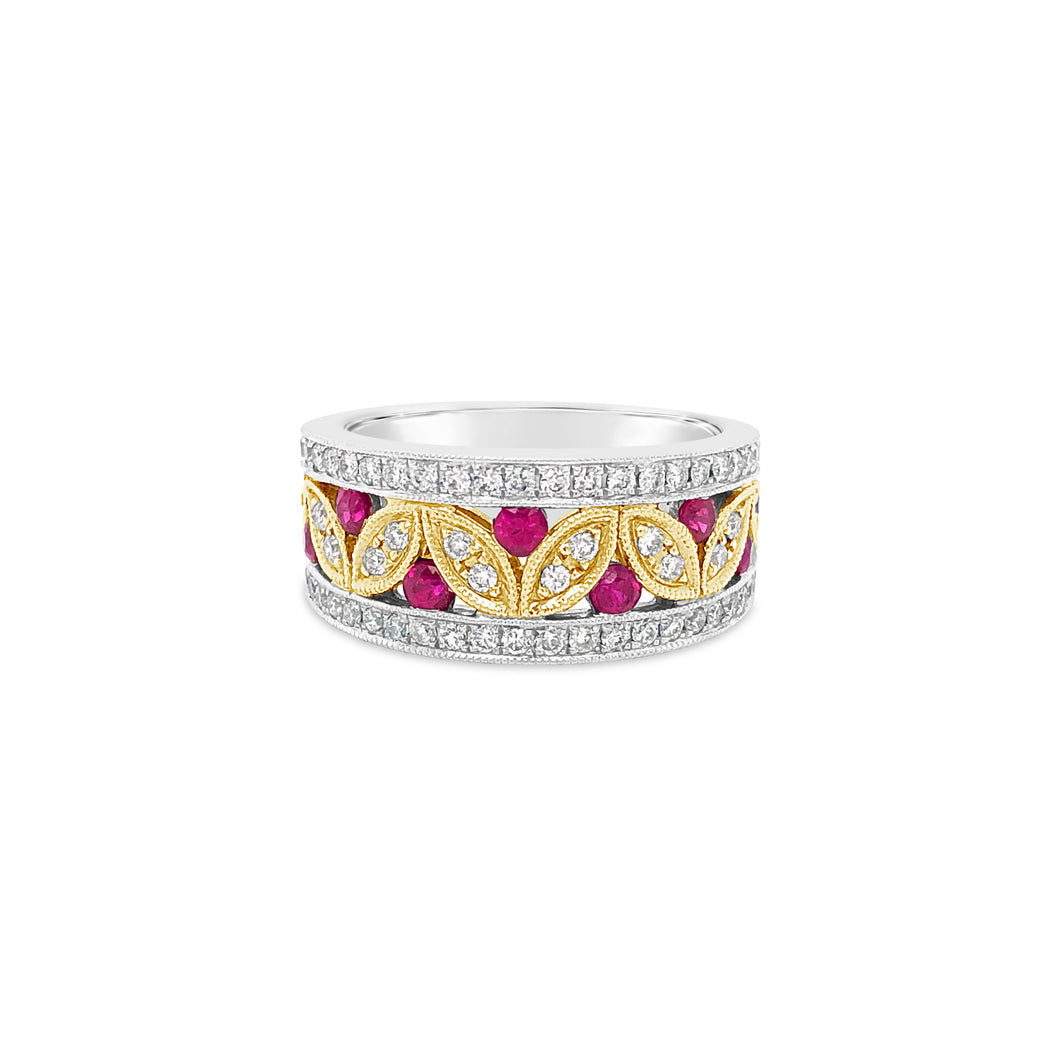 Bi-color Gold Ruby and Diamond Band