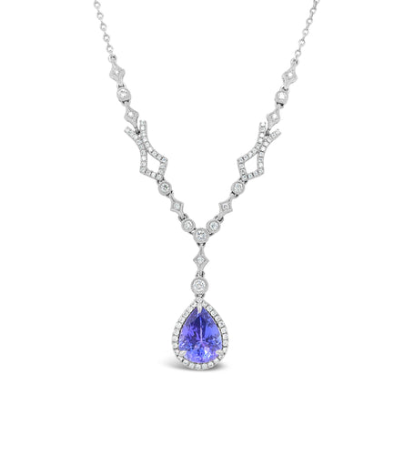 Pear shaped tanzanite Necklace with Diamond accents