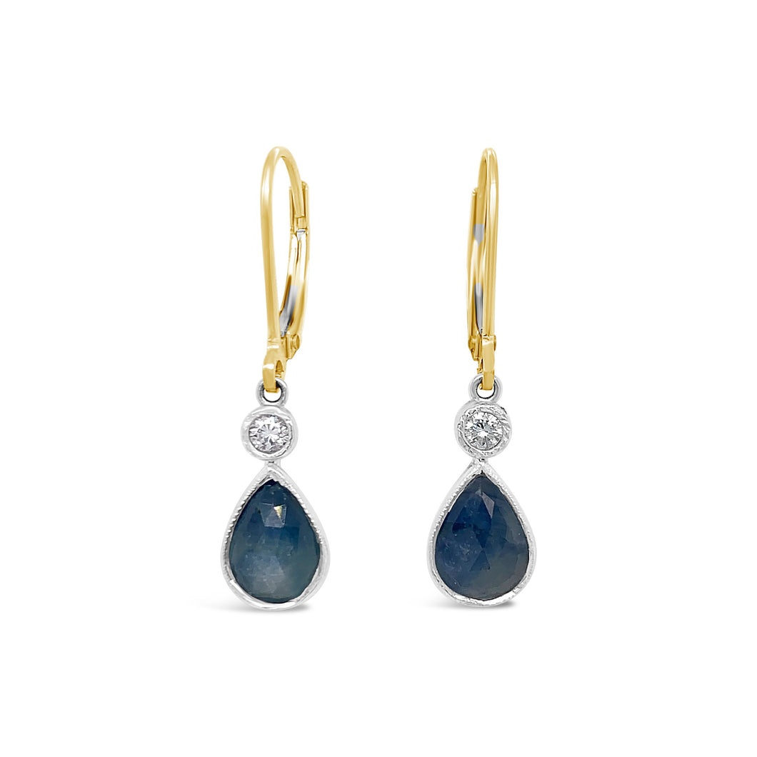 Pear Shaped Cabochon Sapphire and Diamond Dangle Earrings