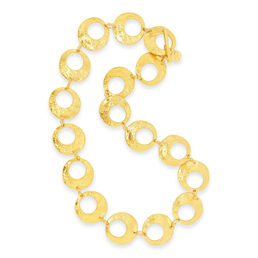 Vermeil Punched Textured Disc Link Necklace