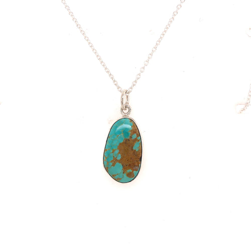 Kingman Turquoise Pendant Set in a Sterling Bezel