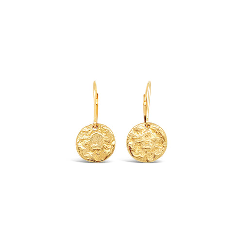 14k Yellow gold Small Textured Disc Earrings