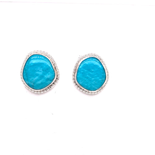 Kingman Turquoise Irregular Round Sterling Earrings