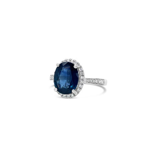 Oval Sapphire with Diamond Halo White Gold Ring
