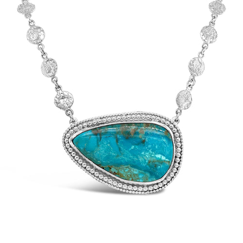 Kingman Turquoise Sterling Beaded Bezel and Textured Disc Necklace