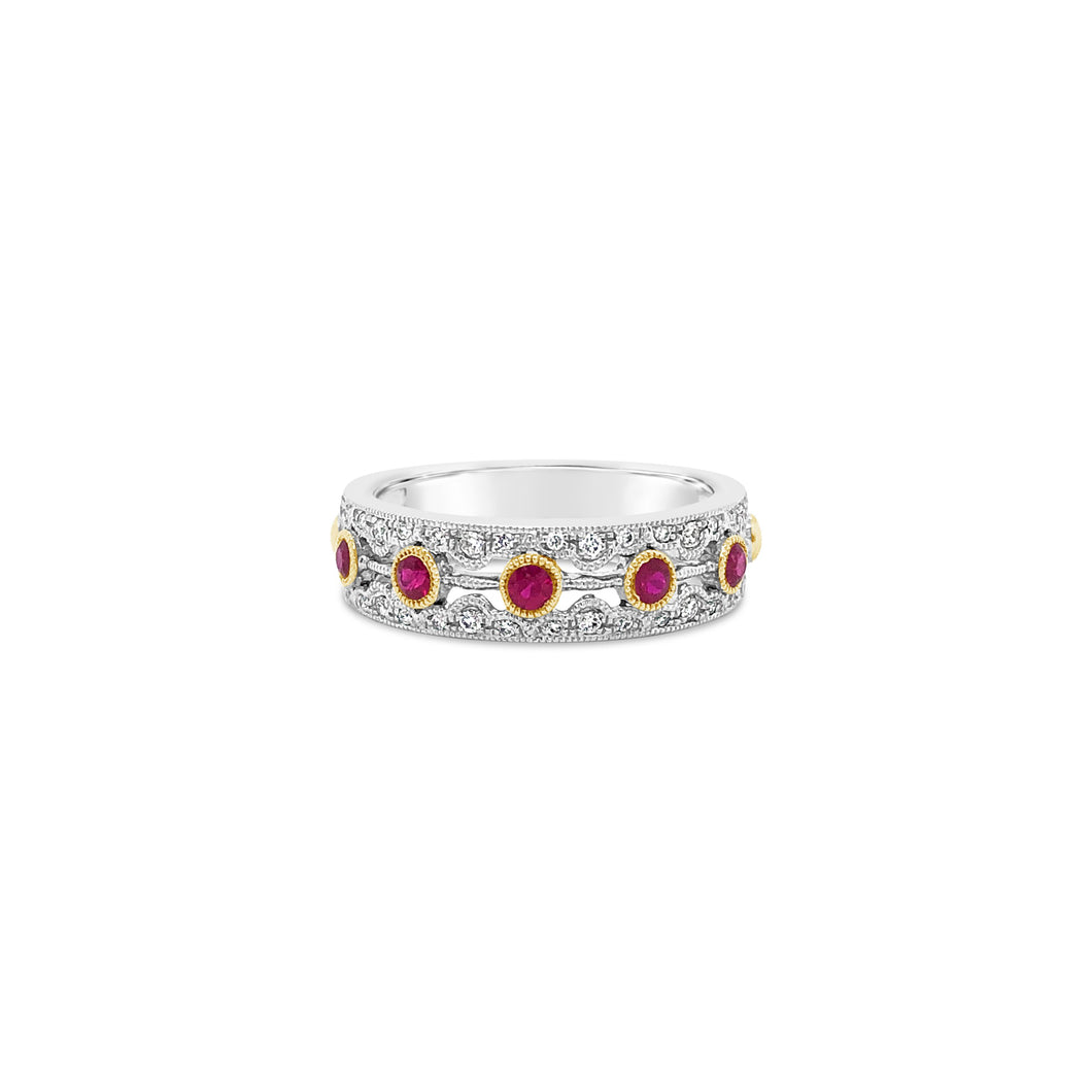 Ruby and Diamond White Gold Band with Yellow Gold Accents