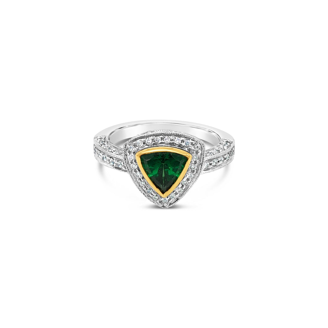 Tsavorite Trilliant with Yellow Gold Bezel and Diamond Accents Ring