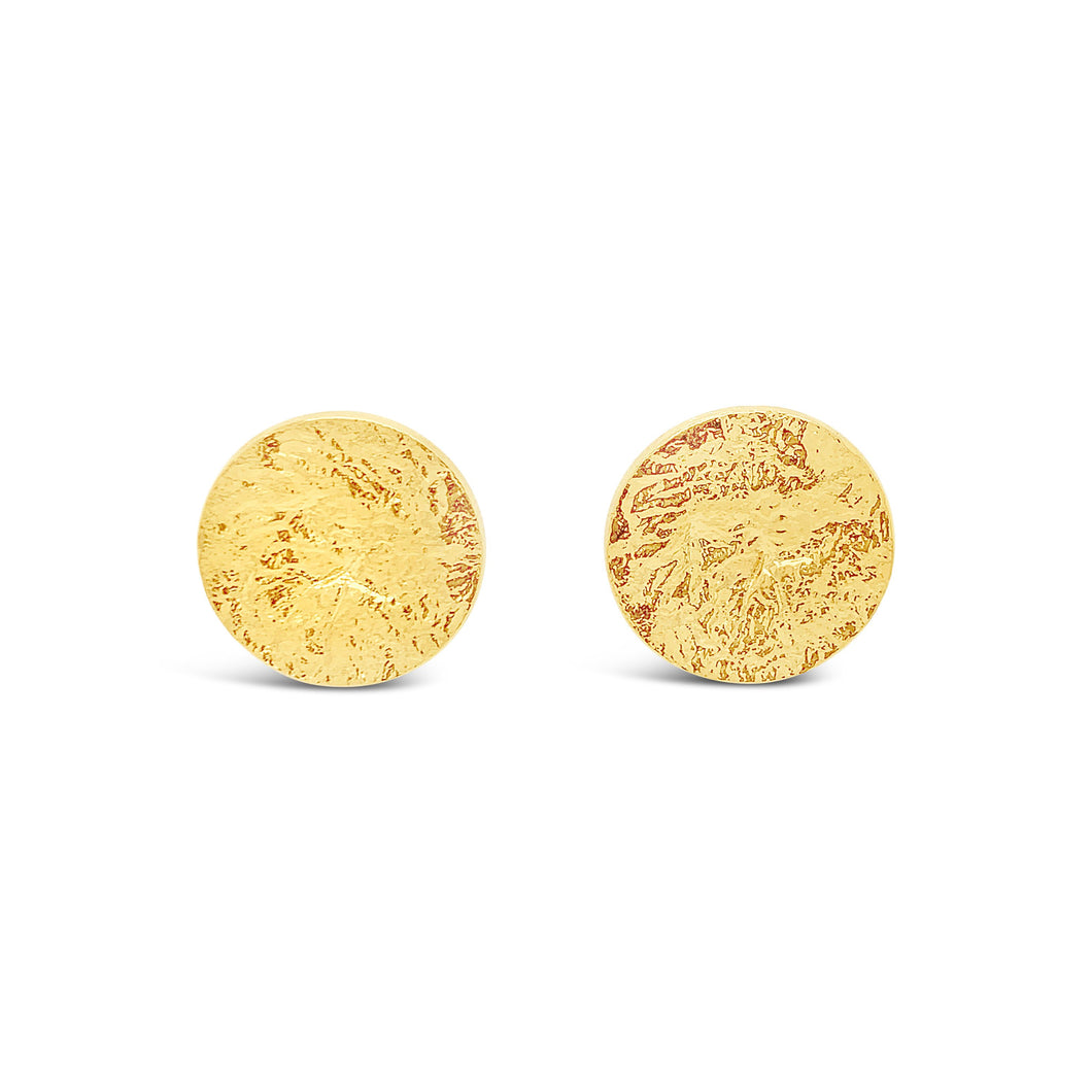 Yellow Gold Vermeil Large Textured Disc Studs