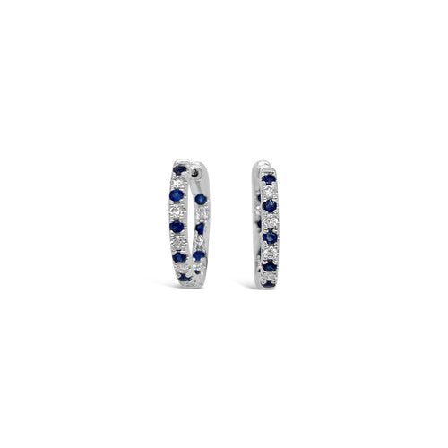 Sapphire and Diamond White Gold Hoops