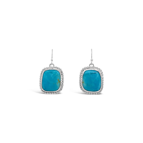 Kingman Turquoise Dangles in Sterling Beaded Bezels