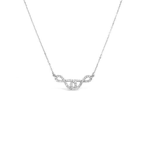 White Gold Diamond Double Infinity Necklace