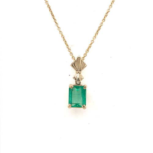 Emerald Pendant with Yellow Gold Cable Chain