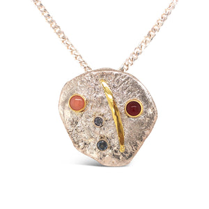Original Irregular Sterling Disc with Colored Stones Necklace