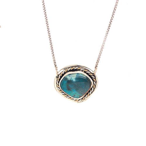 Bisbee Turquoise Sterling and Gold Fill Necklace