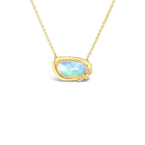 Australian Opal and Yellow Gold with Diamond Accents Necklace