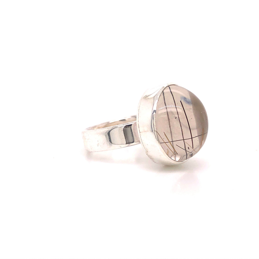 Tourmalated Quartz Cabochon in Sterling Ring