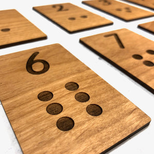 Alder Wood Laser Engraved Number Learning Counting Cards