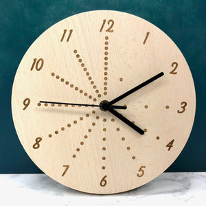 Montessori Inspired Decorative Wall Clock Solid Wood