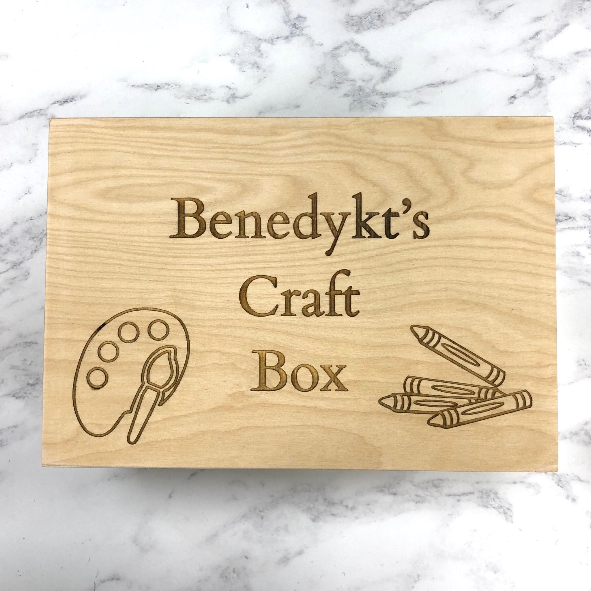 Personalised Solid Wood 26cm Trinket Box Sensory Basket Crafts