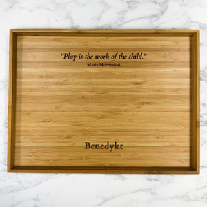 Personalised Bamboo Activity Tray Wood Maria Montessori Quote Play is the Work of the Child Laser Engraved