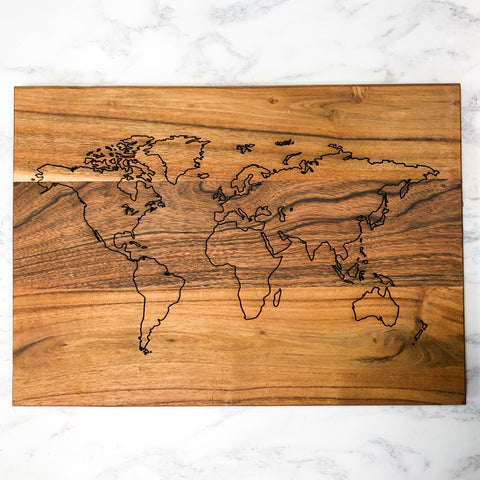 World Map Solid Acacia Decorative Board Wall Decor Decoration Ornament Laser Engraved Personalised Option