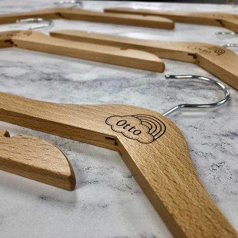 Personalised Natural Wooden Children's Coat Hangers Laser Engraved Wooden Kids (Set of 2) Pack Two